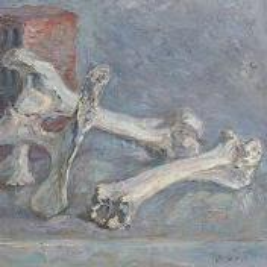 Фрагмент картины 1/3. Натюрморт с кирпичом и костями