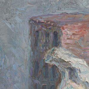 Фрагмент картины 2/3. Натюрморт с кирпичом и костями