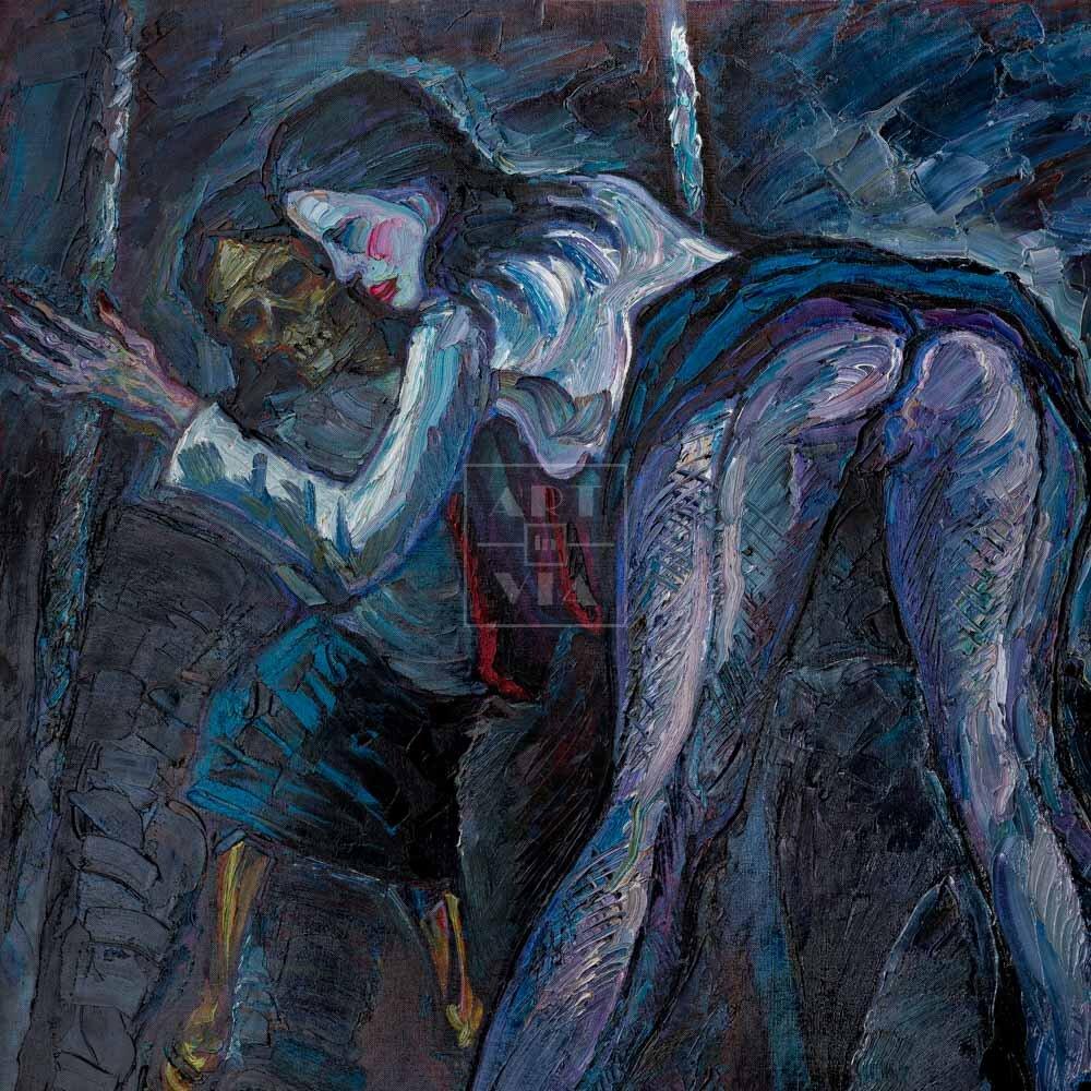 Фрагмент картины 1/3. Ню. № 9. Путана и зеркало