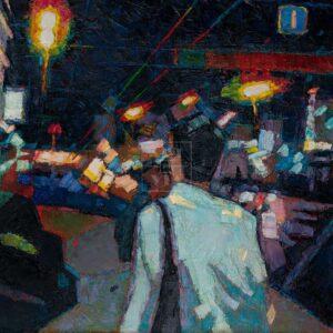 Фрагмент картины 1/3. Пейзаж. № 24. Улица Тверская в 0 часов 30 минут