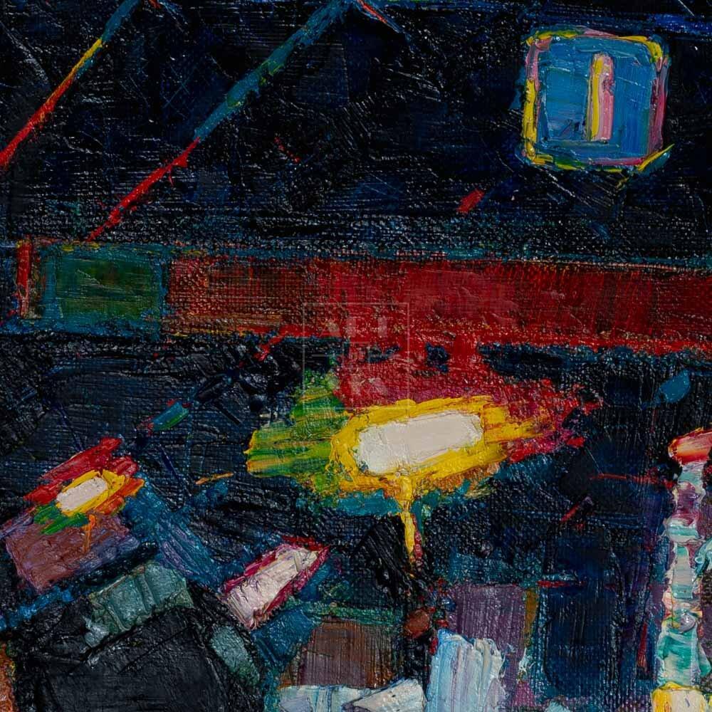Фрагмент картины 2/3. Пейзаж. № 24. Улица Тверская в 0 часов 30 минут