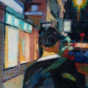 Фрагмент картины 3/3. Пейзаж. № 24. Улица Тверская в 0 часов 30 минут