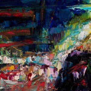 Фрагмент картины 2/3. Пейзаж. Огни большого города