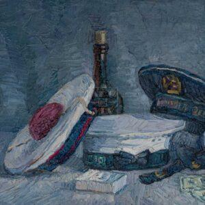 Фрагмент картины 1/3. Натюрморт с фуражками и бутылками