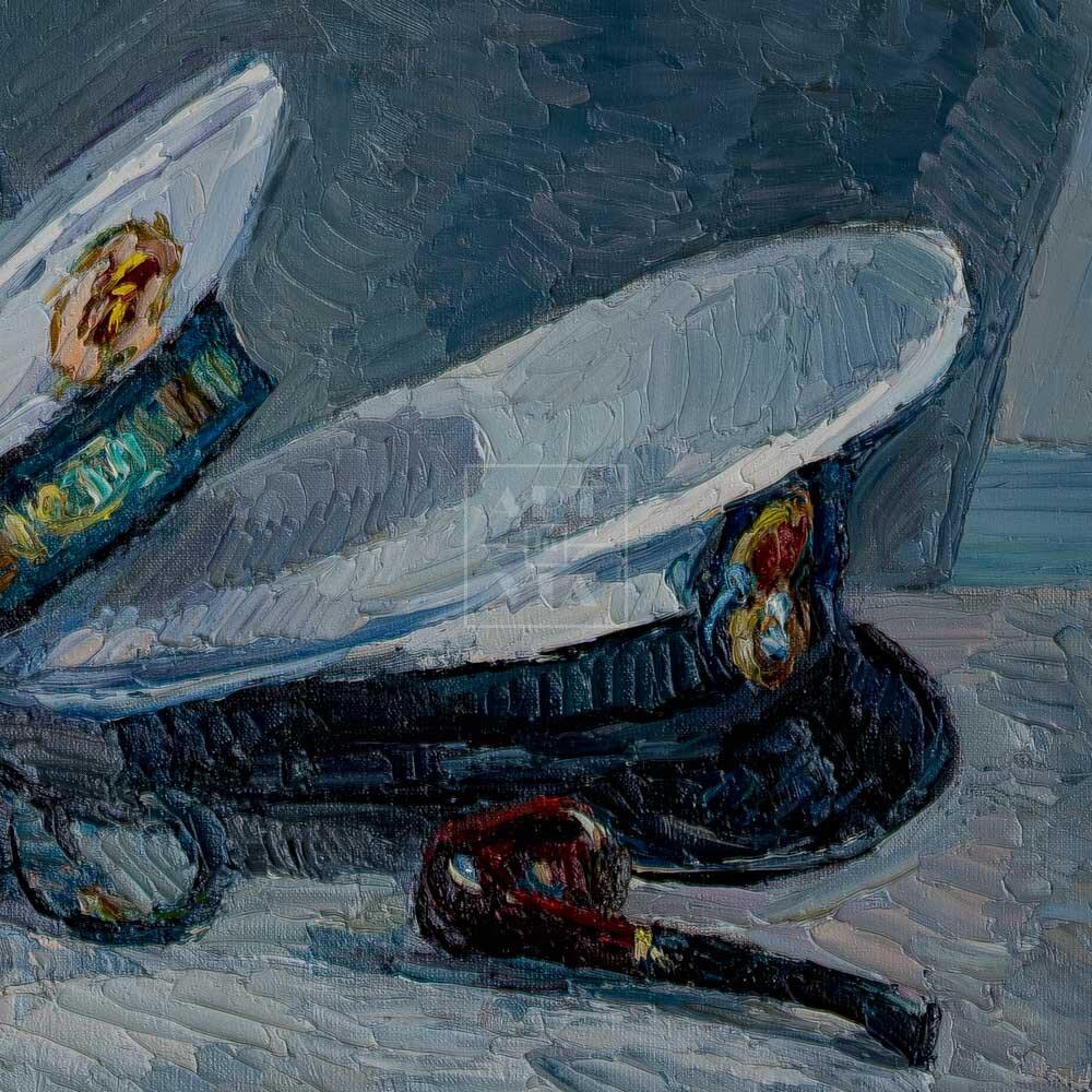 Фрагмент картины 3/3. Натюрморт с фуражками и бутылками
