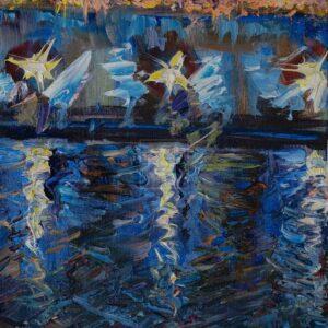 Фрагмент картины 1/3. Москва. Пейзаж. Огни фонарей на набережной