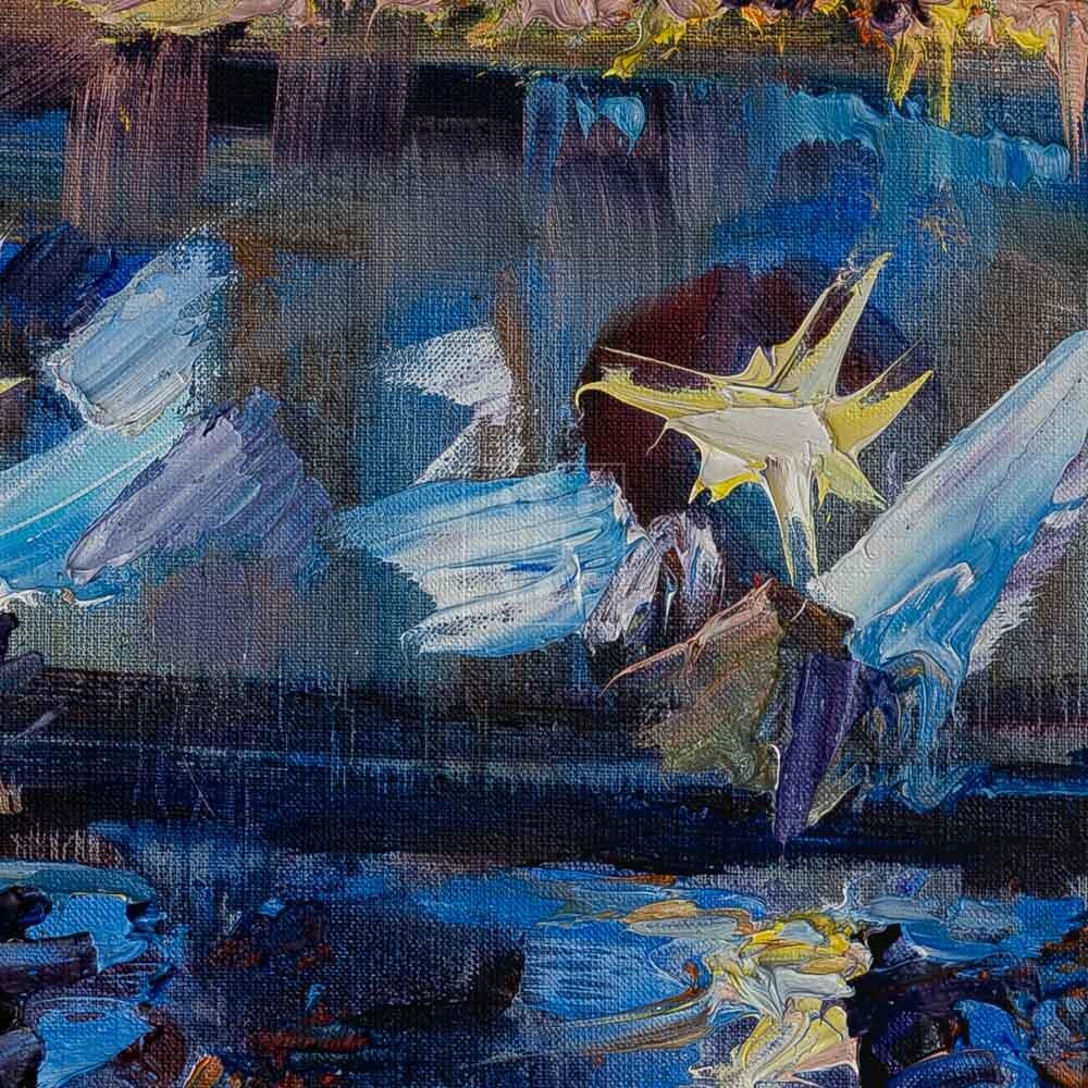Фрагмент картины 2/3. Москва. Пейзаж. Огни фонарей на набережной