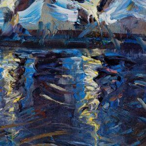 Фрагмент картины 3/3. Москва. Пейзаж. Огни фонарей на набережной