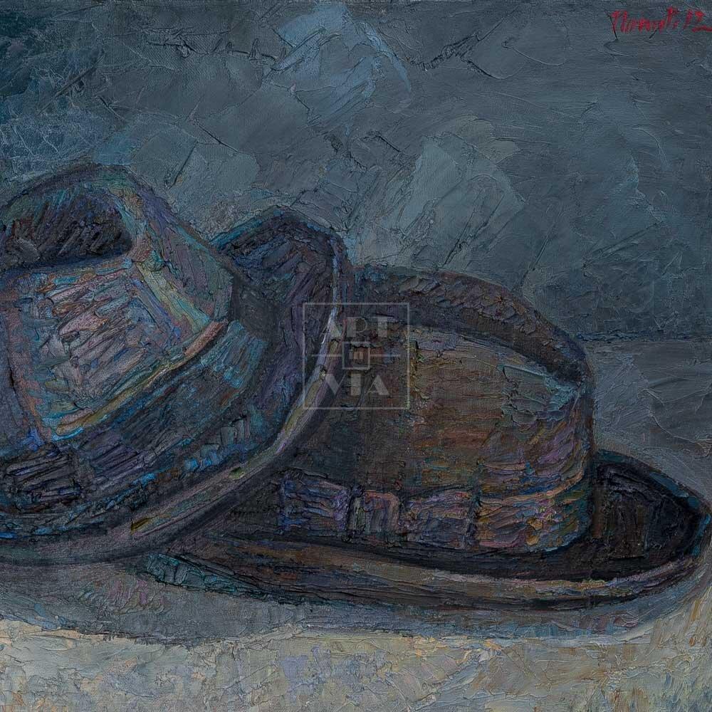 Фрагмент картины 1/3. Натюрморт с туфелькой и шляпами
