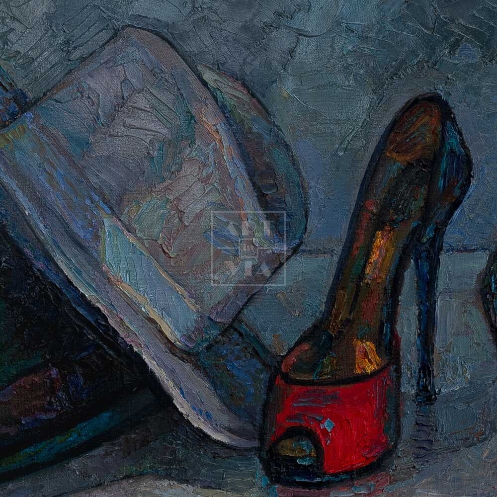 Фрагмент картины 3/3. Натюрморт с туфелькой и шляпами