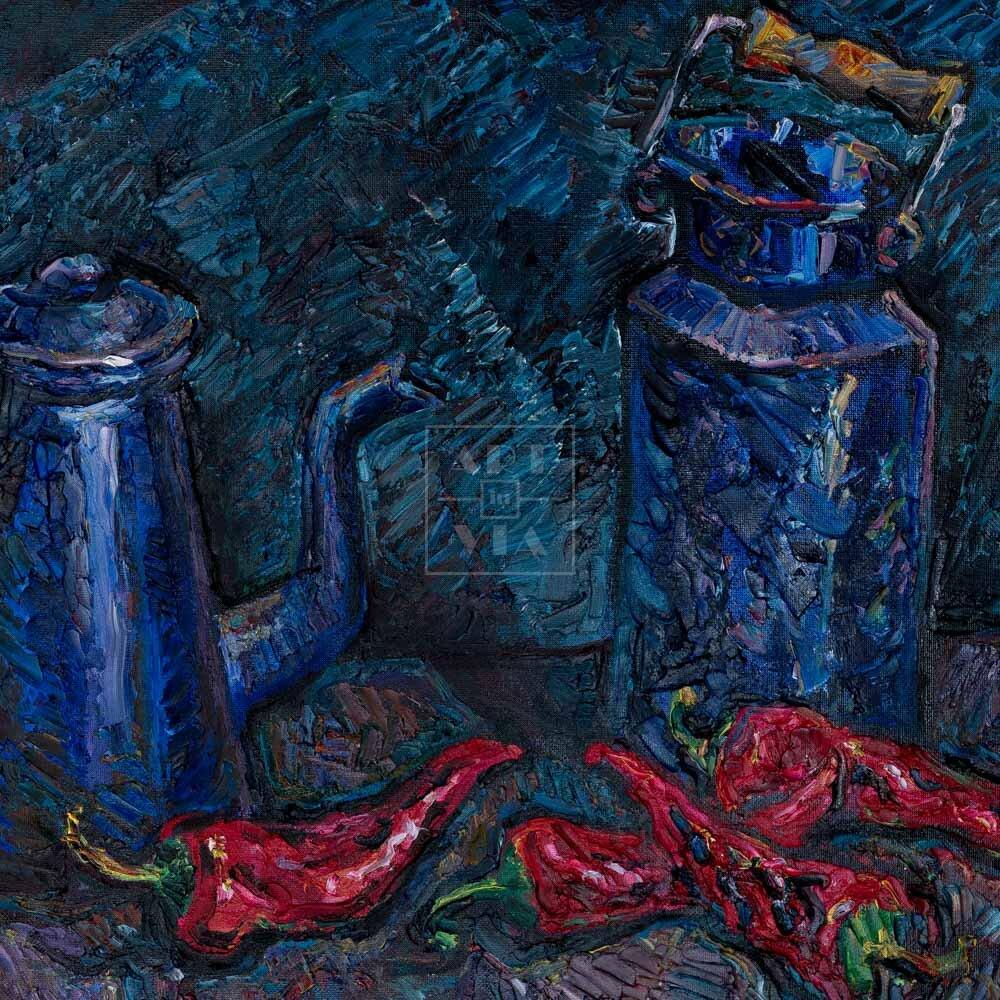 Фрагмент картины 1/3. Натюрморт. Чайник и красные перцы