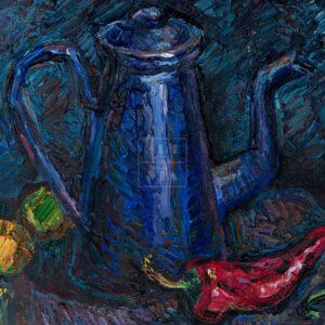 Фрагмент картины 3/3. Натюрморт. Чайник и красные перцы