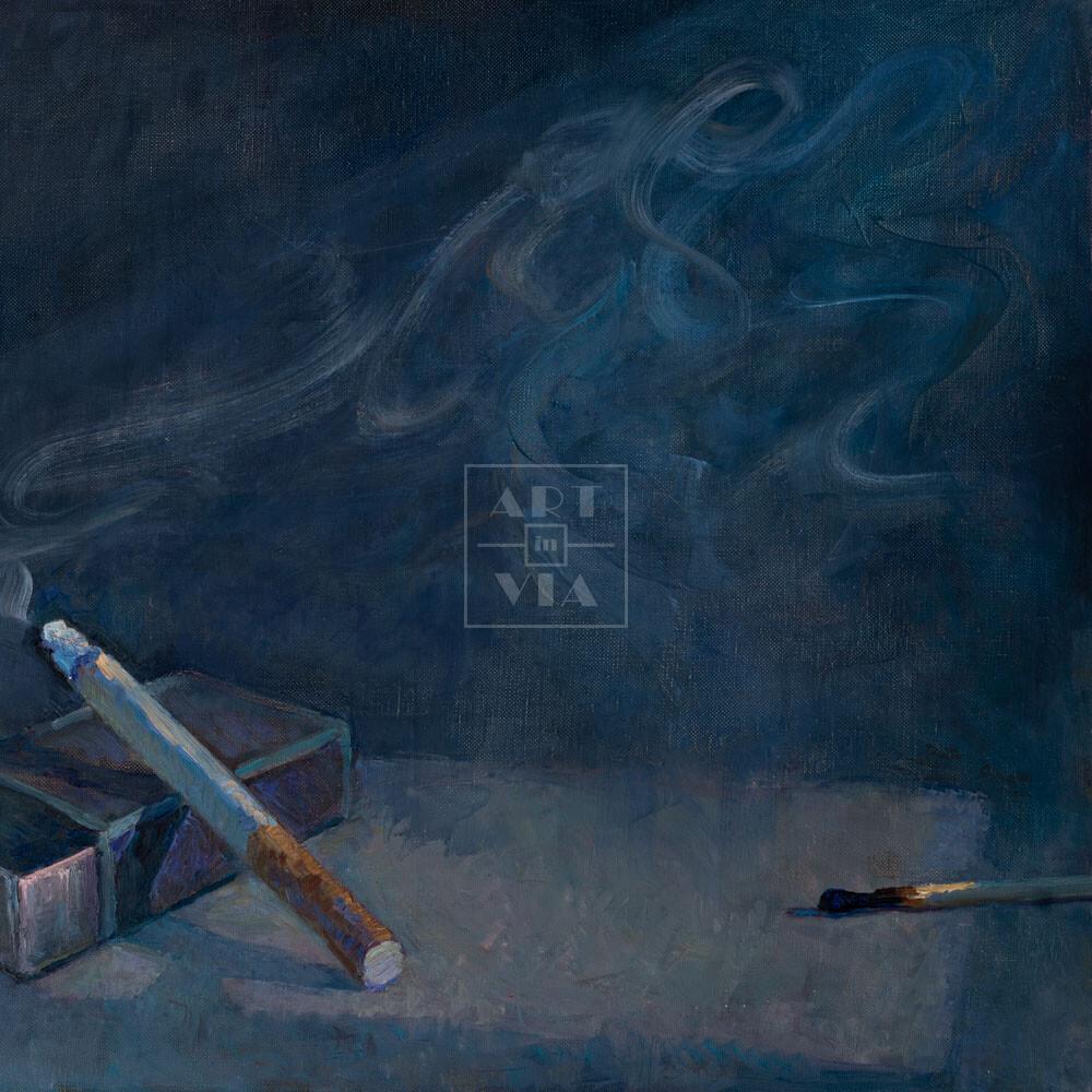 Фрагмент картины 1/3. Натюрморт с сигаретой