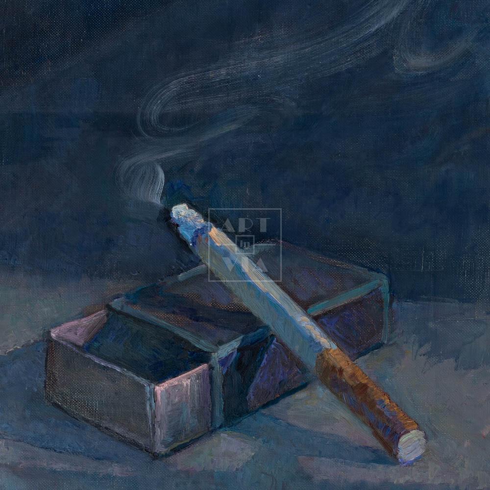 Фрагмент картины 3/3. Натюрморт с сигаретой