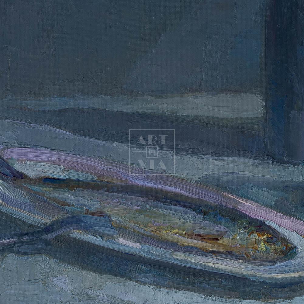 Фрагмент картины 2/3. Натюрморт со шляпой и селедкой