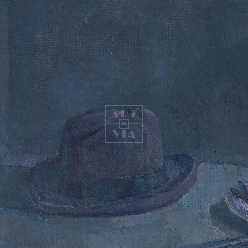 Фрагмент картины 3/3. Натюрморт со шляпой и селедкой